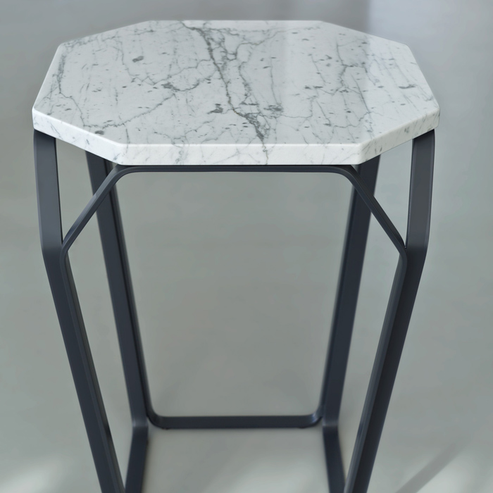 Tray 1 Marmo Square Coffee Table With White Carrara Marble