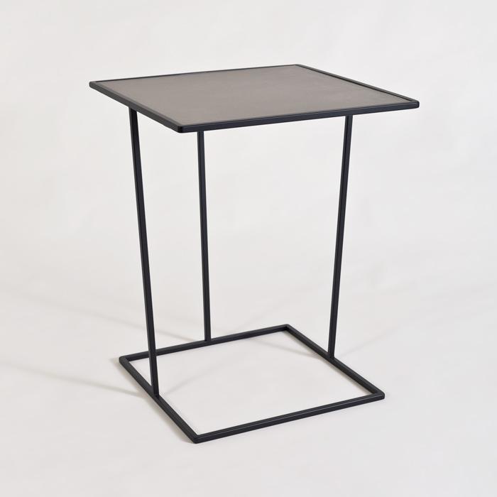 COSTANCE QUADRATO tavolino con piano in melanico pelle fiore