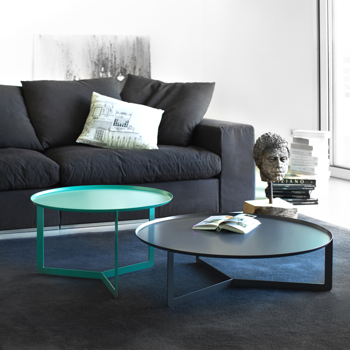 ROUND 2 round coffee table made of metal cm ø60x36h