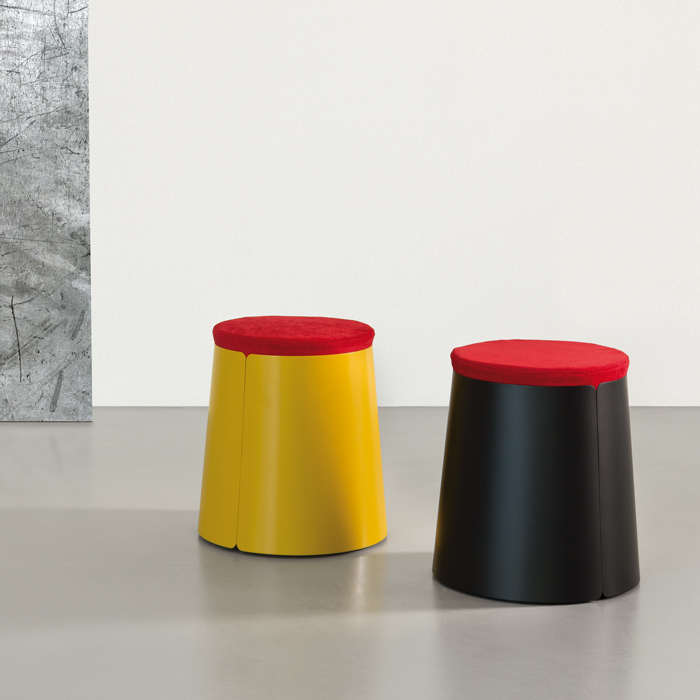 BOBINO POUF comfortable pouf on conic metal coffee table