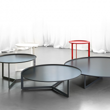 ROUND 3 round coffee table made of metal cm ø80x23h