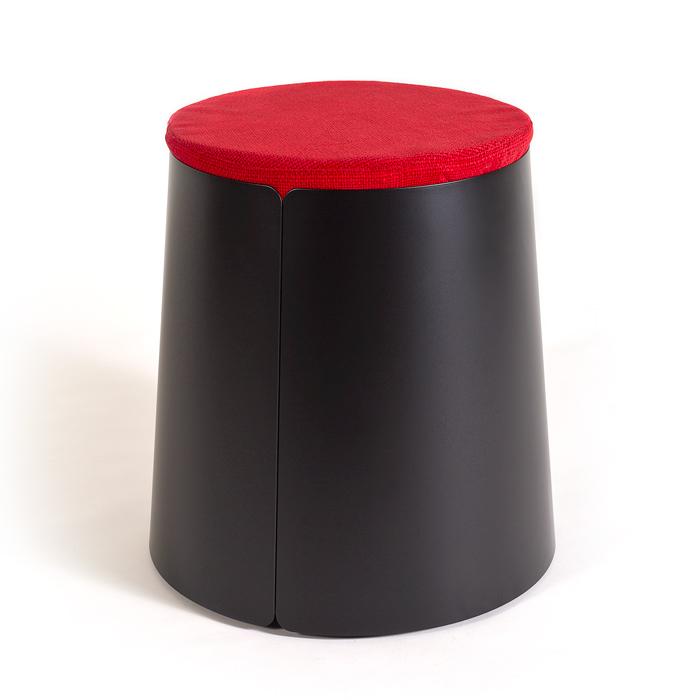 BOBINO POUF Comfortable Pouf On Conic Metal Coffee Table Custom Pouf On Wheels