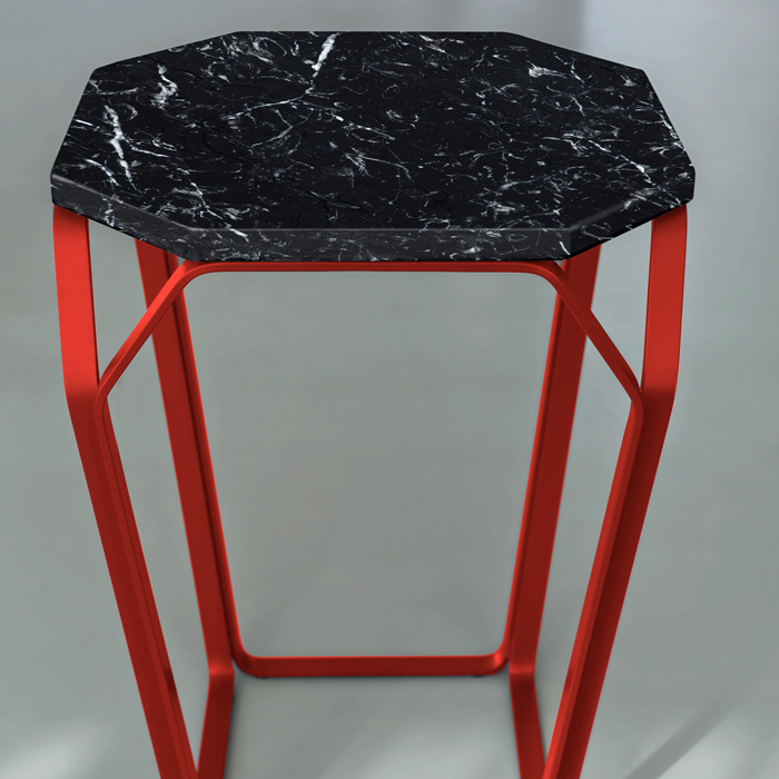 TRAY 1 MARMO square coffee table with Black Marquinia Marble top cm ...