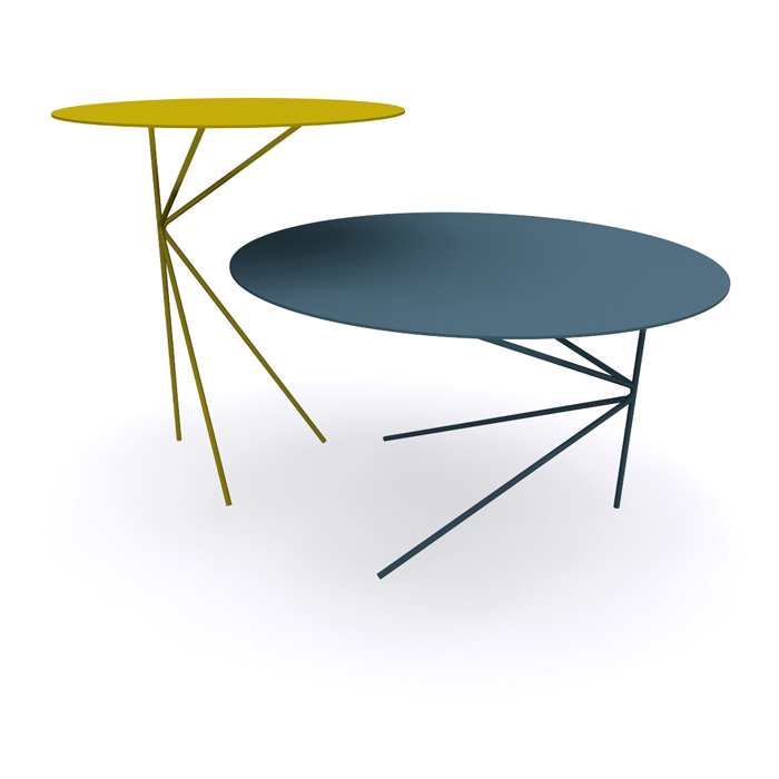 Twin B Round Coffee Table Made Of Metal Cm 248 60x35h