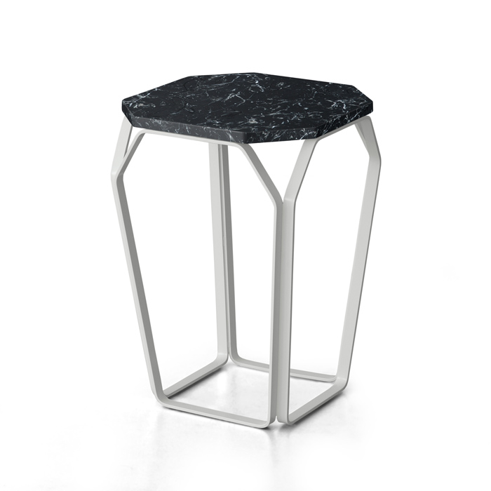 TRAY 1 MARMO square coffee table with Black Marquinia Marble top cm 37x37x50h