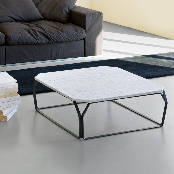 TRAY 2 MARMO square coffee table with White Carrara Marble top cm 80x80x28h