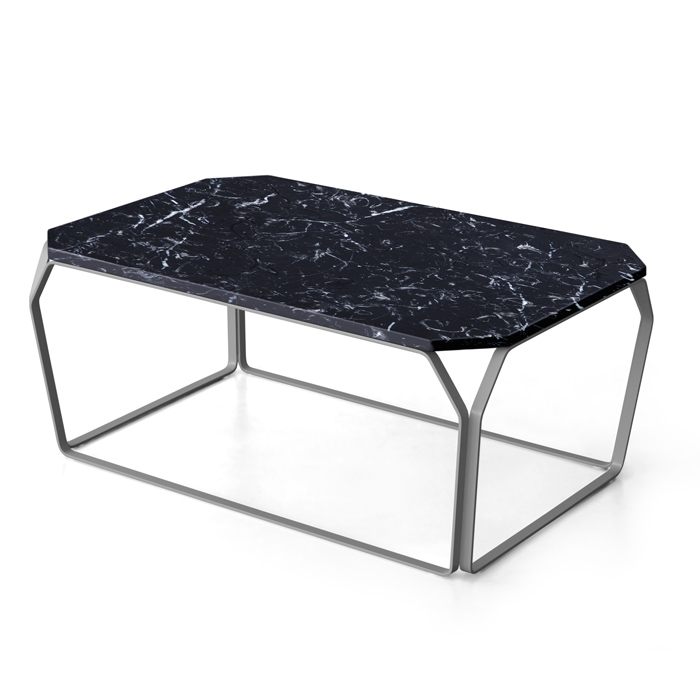 TRAY 3 MARMO rectangular coffee table with Black Marquinia top Marble top cm 97x63x38h