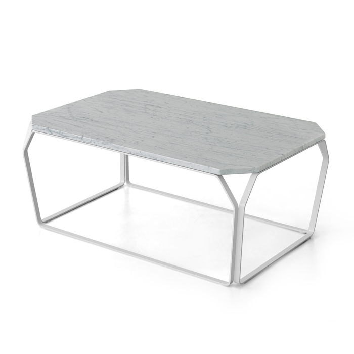 TRAY 3 MARMO rectangular coffee table with White Carrara Marble top cm 97x63x38h