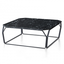 TRAY 2 MARMO square coffee table with Black Marquinia Marble top cm 80x80x28h