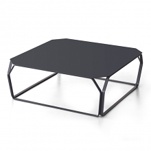 TRAY 2 METALLO square coffee table with metal top cm 80x80x28h