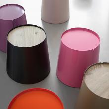 BOBINO coffee table with internal wheels wood top